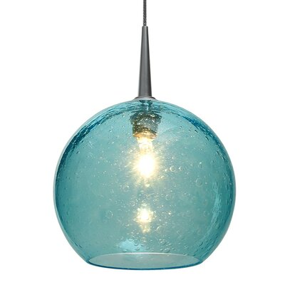 Bobo II 1-Light Globe Pendant Color: Bronze, Shade Color: Aqua