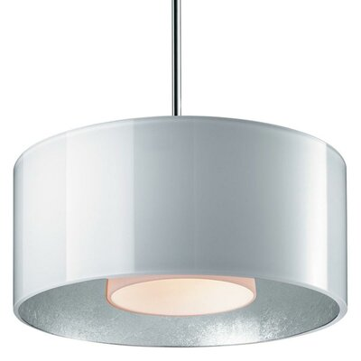 Jaggers Drum Pendant Finish: Matte Chrome, Shade Color: White outer / Gold inner