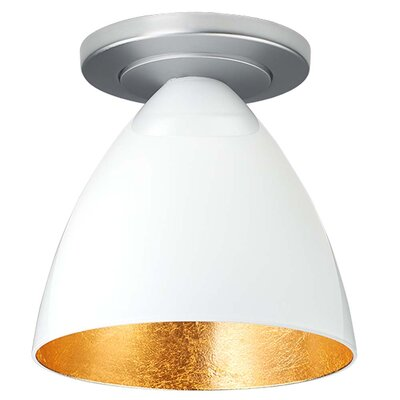 Cleo 1-Light Semi-Flush Mount Finish: Bronze, Shade Color: White with Gold inner