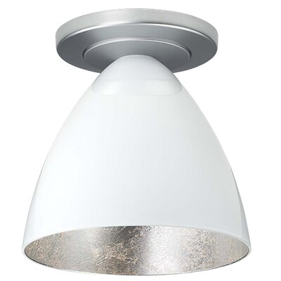 Cleo 1-Light Semi-Flush Mount Color: Matte Chrome, Shade Color: White with Silver inner
