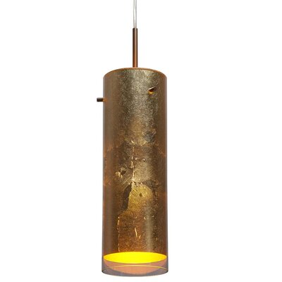 Cyrus 1-Light Mini Pendant Color / Shade Color: Bronze / Gold, Mounting: 4 Kiss Canopy, Base: Medium E26