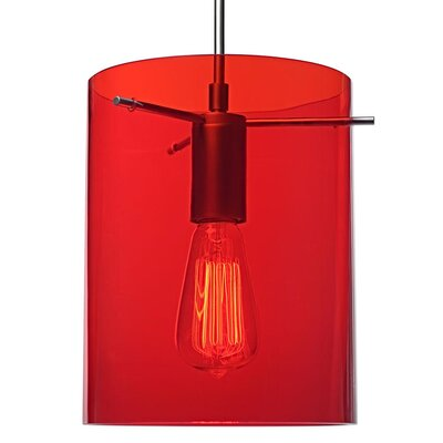 London 1-Light Mini Pendant Color: Chrome, Shade Color: Red