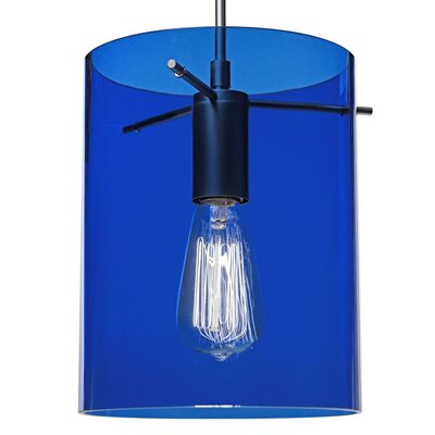 London 1-Light Mini Pendant Color: Bronze, Shade Color: Blue