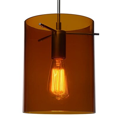 London 1-Light Mini Pendant Color: Bronze, Shade Color: Bourbon