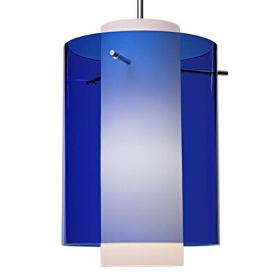 Rome 1-Light Mini Pendant Finish: Matte Chrome, Shade Color: Blue, Bulb Type: Compact Fluorescen