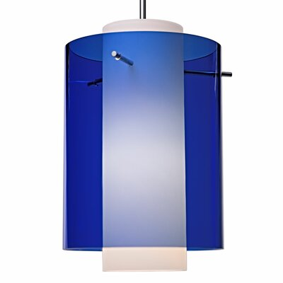 Rome 1 LED Integrated Bulb Mini Pendant Color: Matte Chrome, Shade Color: Blue