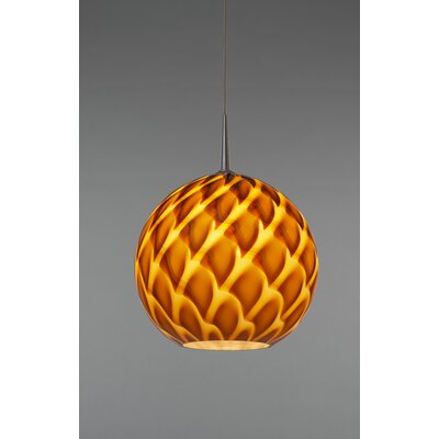 Sirena 1-Light Globe Pendant Finish: Matte Chrome, Shade Color: Amber, Mounting: 4.5