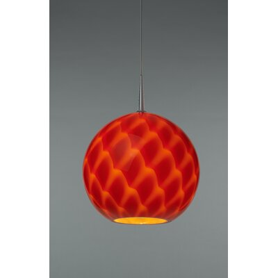Sirena 1-Light Globe Pendant Mounting: 4.5 Kiss Canopy, Finish: Matte Chrome, Shade Color: Red