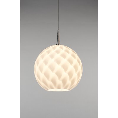 Sirena 1-Light Globe Pendant Color: Chrome, Shade Color: White, Mounting: 4.5 Kiss Canopy