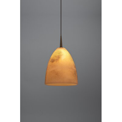 Alexander 1-Light LED Mini Pendant Shade Color: Cream, Finish: Bronze