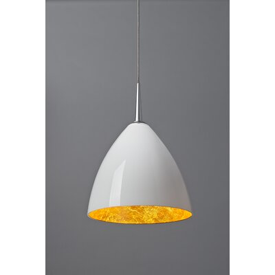 Cleo 1-Light Mini Pendant Shade Color: White with Gold inner, Mounting: No Canopy, Finish: Matte Chrome