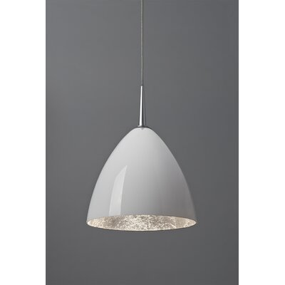 Cleo 1-Light Mini Pendant Finish: Matte Chrome, Shade Color: White with Silver inner, Mounting: 4.5 Kiss Canopy
