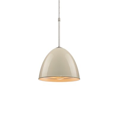 Classic 1-Light Mini Pendant Color: Chrome, Shade Color: Ivory