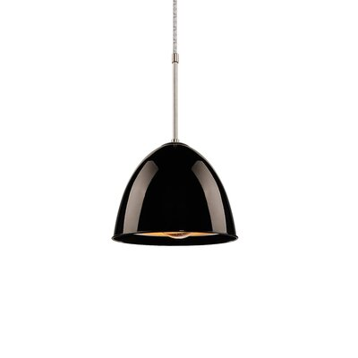 Classic 1-Light Mini Pendant Color: Chrome, Shade Color: Black