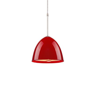 Classic 1-Light Mini Pendant Color: Chrome, Shade Color: Gypsy Red