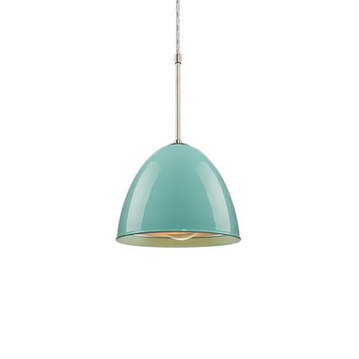 Classic 1-Light Mini Pendant Color: Bronze, Shade Color: Larkspur Blue