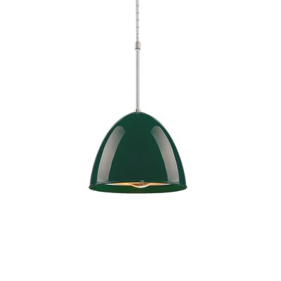 Classic 1-Light Mini Pendant Color: Chrome, Shade Color: British Racing Green