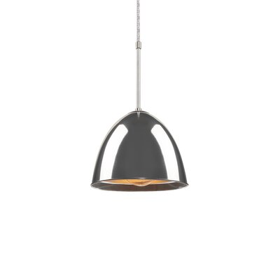 Classic 1-Light Mini Pendant Color: Bronze, Shade Color: Ivory