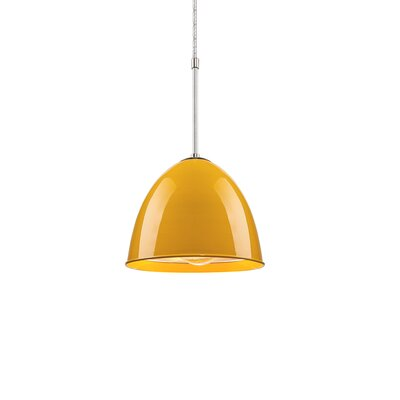 Classic 1-Light Mini Pendant Color: Chrome, Shade Color: Canary Yellow