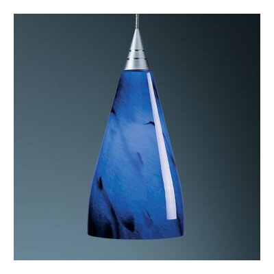 "BRUCK Zara 6.5' X 4.5' Mini Pendant - Canopy Size: 2"" with Junction Box, Finish: Matte Chrome, Glass Color: Blue Swirl at Sears.com"