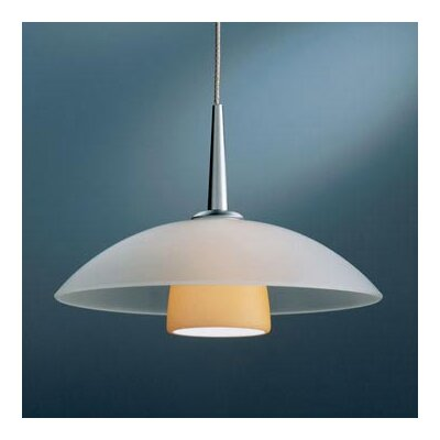 Jas 1-Light Down Light Pendant Finish: Matte Chrome, Canopy/Bulb type: 4 Canopy/Halogen, Glass Color: Amber Matte