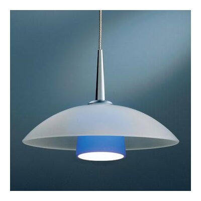 Jas 1-Light Down Light Pendant Canopy/Bulb type: 4 Canopy/Halogen, Color: Bronze, Glass Color: Blue Matte