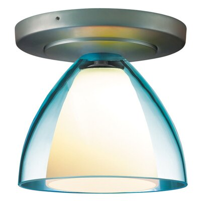 Rainbow 1-Light Flush Mount Finish: Matte Chrome, Shade Color: Turquoise