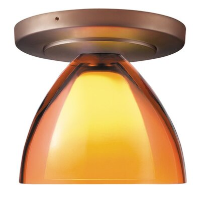 Rainbow 1-Light Flush Mount Finish: Bronze, Shade Color: Sunset