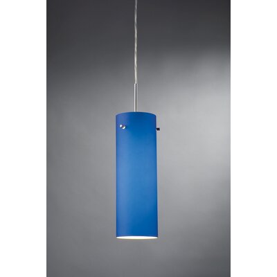 Titan 1-Light Monopoint Mini Pendant Color: Chrome, Shade Color: Blue