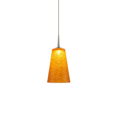 Bling 1-Light Mini Pendant Color: Matte Chrome, Shade Color: Amber