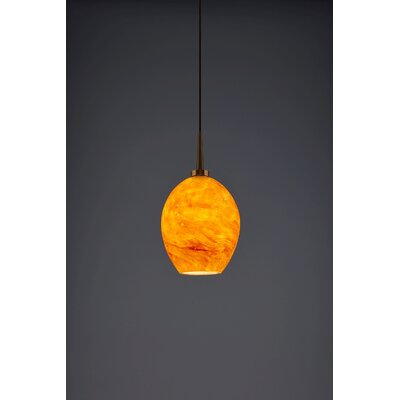 Bolero 1-Light Mini Pendant Color: Bronze, Shade Color: Amber