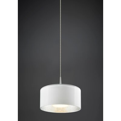 Cantara 1-Light Drum Pendant Finish: Matte Chrome, Interior Shade Color: Silver