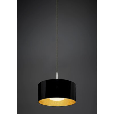 Cantara 1-Light Drum Pendant Finish: Matte Chrome, Interior Shade Color: Gold