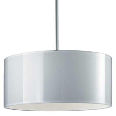 Jaggers 1-Light Metal Drum Pendant Finish: Matte Chrome, Interior Shade Color: White