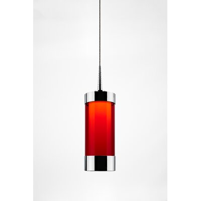 Silva 1-Light Mini Pendant Color: Chrome, Shade Color: Red