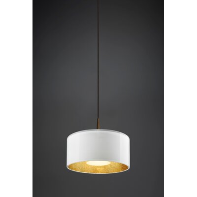 Jaggers 1-Light Metal Drum Pendant Finish: Bronze, Interior Shade Color: Gold