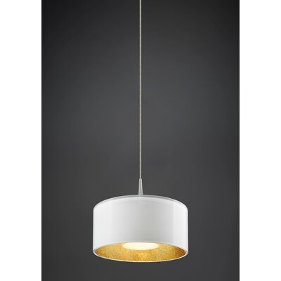 Jaggers 1-Light Metal Drum Pendant Finish: Matte Chrome, Interior Shade Color: Gold