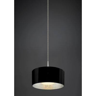 Cantara 1-Light Drum Pendant Finish: Bronze, Interior Shade Color: Silver
