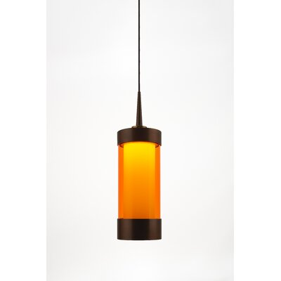 Silva 1-Light Mini Pendant Color: Bronze, Shade Color: Orange