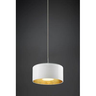 Cantara 1-Light Drum Pendant Finish: Chrome, Interior Shade Color: Gold
