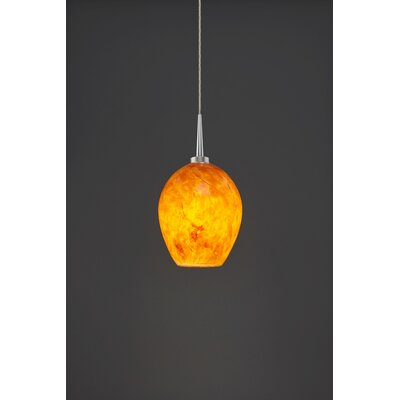 Bolero 1-Light Mini Pendant Finish: Matte Chrome, Shade Color: Amber