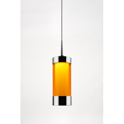 Silva 1-Light Mini Pendant Color: Chrome, Shade Color: Orange