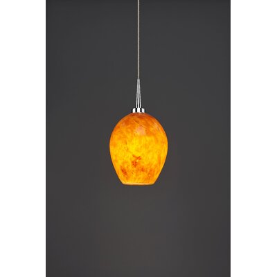 Bolero 1-Light Mini Pendant Shade Color: Amber, Finish: Chrome