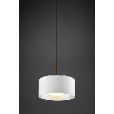 Jaggers 1-Light Metal Drum Pendant Finish: Bronze, Interior Shade Color: White
