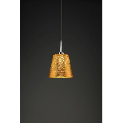 Bling 1-Light Mini Pendant Color: Chrome, Shade Color: Gold