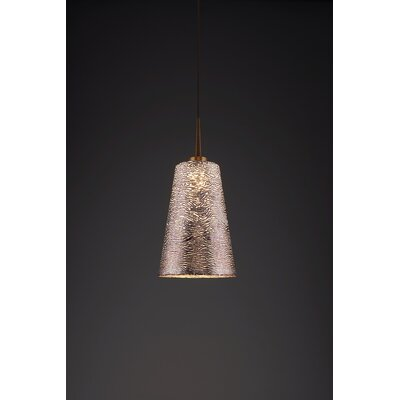 Bling 1-Light Mini Pendant Color: Bronze, Shade Color: Silver