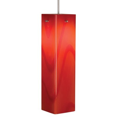 Houston 1-Light Mini Pendant Color: Matte Chrome, Shade Color: Red