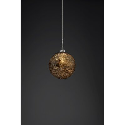 Dazzle 1-Light Globe Pendant Color: Chrome, Shade Color: Black