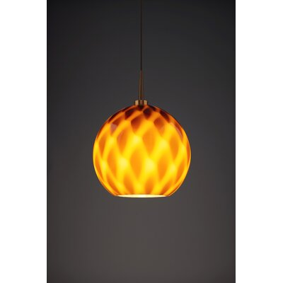 Sirena 1-Light Mini Pendant Color: Bronze, Shade Color: Amber