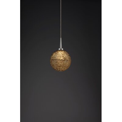 Dazzle 1-Light Monopoint Globe Pendant Color: Matte Chrome, Shade Color: Black